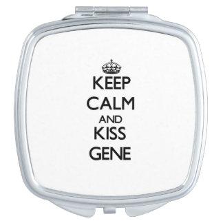 Keep Calm and Kiss Gene Travel Mirror