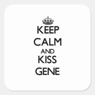 Keep Calm and Kiss Gene Square Sticker