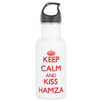 Keep Calm and Kiss Hamza 18oz Water Bottle
