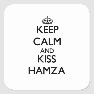 Keep Calm and Kiss Hamza Square Sticker