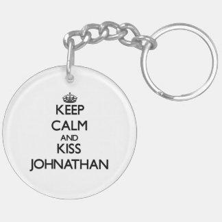Keep Calm and Kiss Johnathan Double-Sided Round Acrylic Keychain