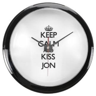 Keep Calm and Kiss Jon Fish Tank Clocks