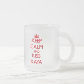 Keep Calm and Kiss Kaya 10 Oz Frosted Glass Coffee Mug