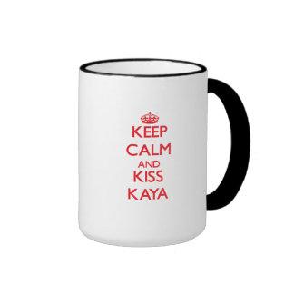 Keep Calm and kiss Kaya Ringer Coffee Mug