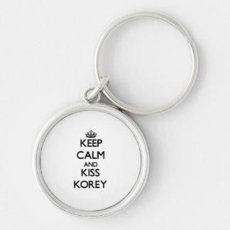 Keep Calm and Kiss Korey Keychains