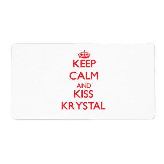 Keep Calm and Kiss Krystal Custom Shipping Labels