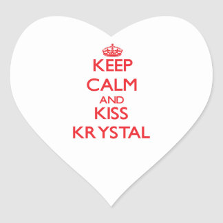 Keep Calm and Kiss Krystal Heart Sticker