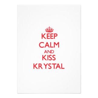 Keep Calm and kiss Krystal Custom Invitation