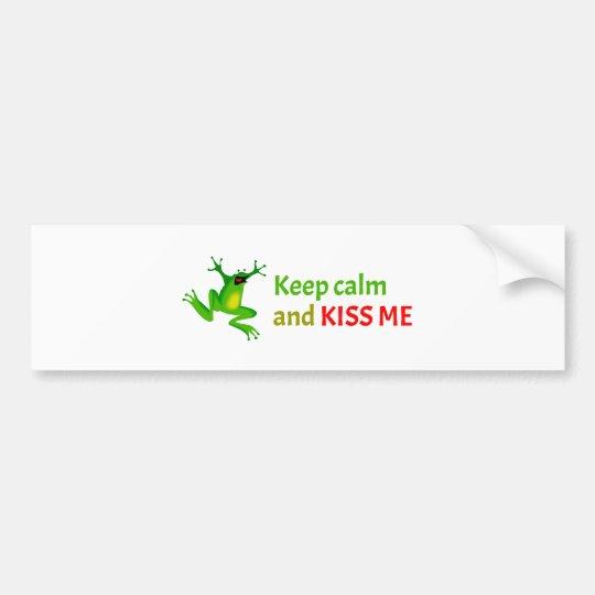 Keep calm and kiss me bumper sticker