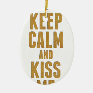 Keep Calm And Kiss Me Double-Sided Oval Ceramic Christmas Ornament