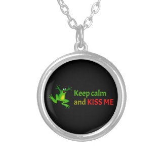 Keep calm and kiss me personalized necklace