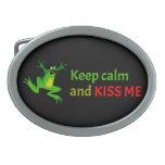 Keep calm and kiss me oval belt buckle