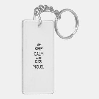 Keep Calm and Kiss Miguel Double-Sided Rectangular Acrylic Keychain
