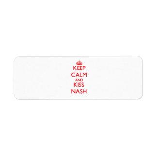Keep Calm and Kiss Nash Return Address Label