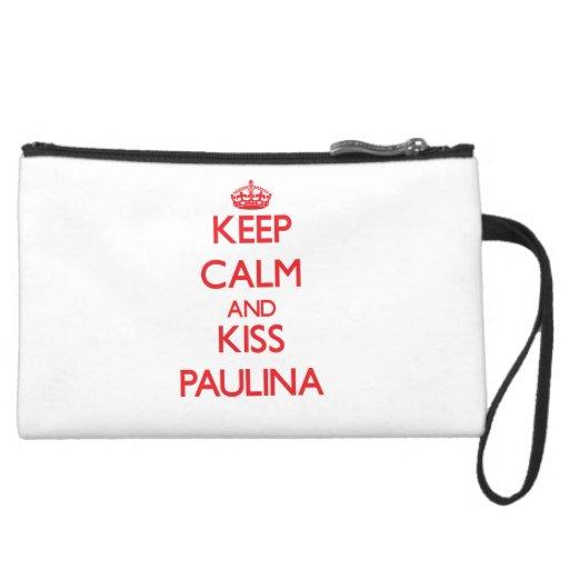 Keep Calm and Kiss Paulina Wristlet Clutches