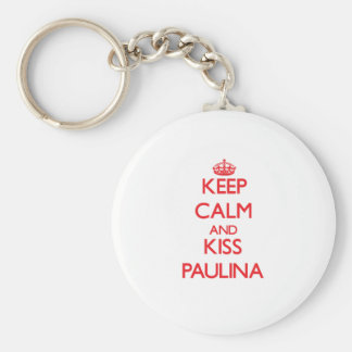 Keep Calm and Kiss Paulina Basic Round Button Keychain