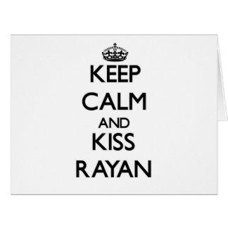 Keep Calm and Kiss Rayan Large Greeting Card