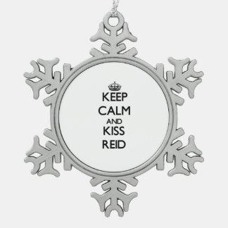 Keep Calm and Kiss Reid Snowflake Pewter Christmas Ornament