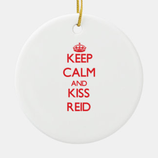 Keep Calm and Kiss Reid Double-Sided Ceramic Round Christmas Ornament