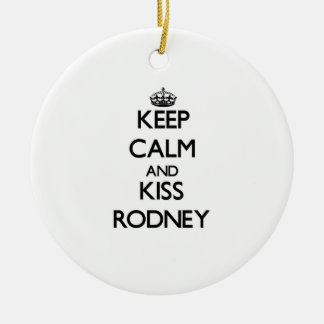 Keep Calm and Kiss Rodney Double-Sided Ceramic Round Christmas Ornament