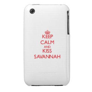 Keep Calm and Kiss Savannah iPhone 3 Cover
