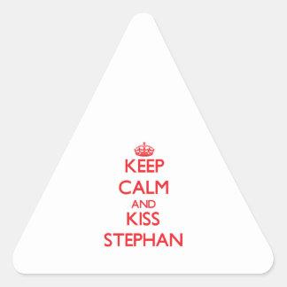 Keep Calm and Kiss Stephan Triangle Sticker
