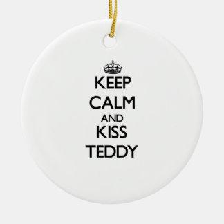 Keep Calm and Kiss Teddy Christmas Ornaments