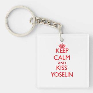 Keep Calm and Kiss Yoselin Double-Sided Square Acrylic Keychain