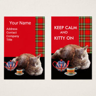 """""""KEEP CALM AND KITTY ON"""" CAT TEA PARTY,RED TARTAN BUSINESS CARD"""