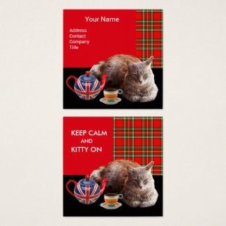 """""""KEEP CALM AND KITTY ON"""" CAT TEA PARTY,RED TARTAN SQUARE BUSINESS CARD"""