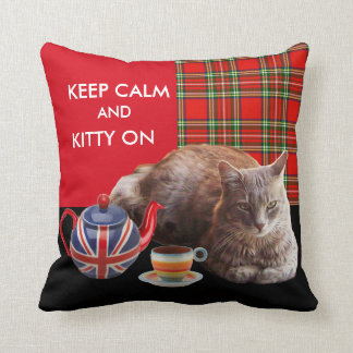 KEEP CALM AND KITTY ON,COLORFUL PAW AND RED TARTAN PILLOW