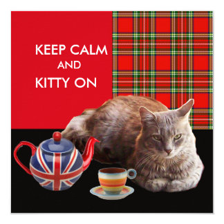 """KEEP CALM AND KITTY ON"" ,RED TARTAN,CAT TEA PARTY CARD"