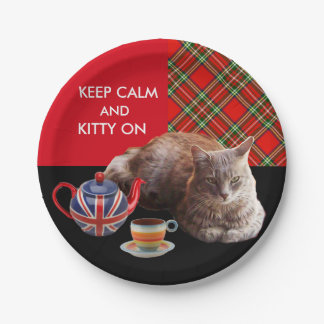 """KEEP CALM AND KITTY ON"" ,RED TARTAN,CAT TEA PARTY PAPER PLATE"
