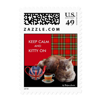 """KEEP CALM AND KITTY ON"" ,RED TARTAN,CAT TEA PARTY POSTAGE"