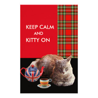 """KEEP CALM AND KITTY ON"" ,RED TARTAN,CAT TEA PARTY STATIONERY"