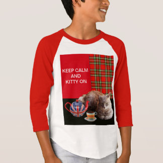 """""""KEEP CALM AND KITTY ON"""" ,RED TARTAN,CAT TEA PARTY T-Shirt"""