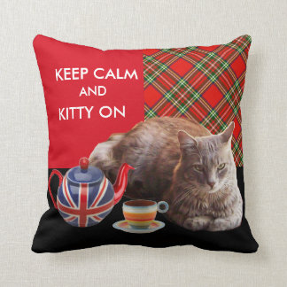 """KEEP CALM AND KITTY ON"" ,RED TARTAN,CAT TEA PARTY THROW PILLOW"