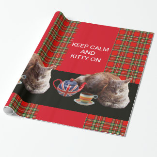 KEEP CALM AND KITTY ON GIFT WRAPPING PAPER