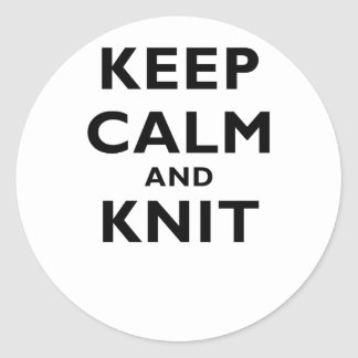 Keep Calm and Knit Classic Round Sticker