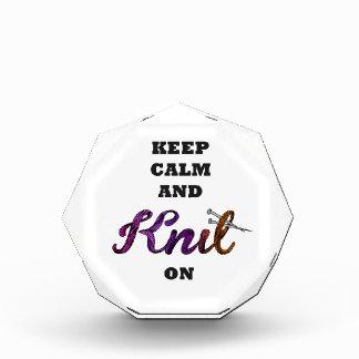 Keep Calm and Knit On Acrylic Award