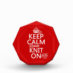 Small Acrylic Octagon Award with Keep Calm and Knit On design