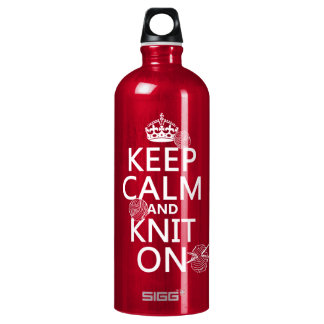 Keep Calm and Knit On - all colors Aluminum Water Bottle