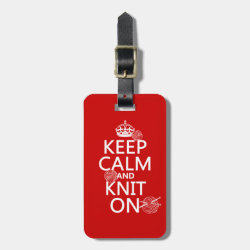 Small Luggage Tag with leather strap with Keep Calm and Knit On design