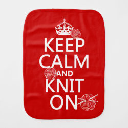 Burp Cloth with Keep Calm and Knit On design