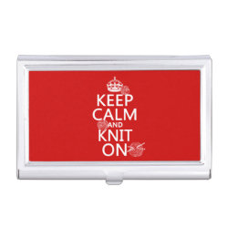 Business Card Holder with Keep Calm and Knit On design