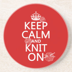 Sandstone Drink Coaster with Keep Calm and Knit On design