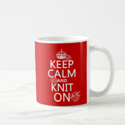 Classic White Mug with Keep Calm and Knit On design