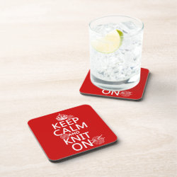 Beverage Coaster with Keep Calm and Knit On design