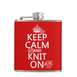 Vinyl Wrapped Flask, 6 oz. with Keep Calm and Knit On design