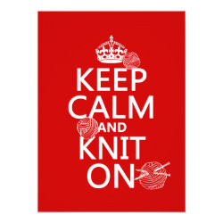 5.5' x 7.5' Invitation / Flat Card with Keep Calm and Knit On design